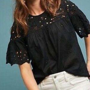 Anthro Maeve Anamarie laser cut eyelet blouse